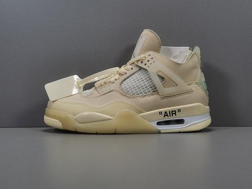 "GOD版_乔4 乔4OW Off-White? x Air Jordan 4  ""Cream/Sail"" OW联名,货号_CV9388-100_莆田god版"