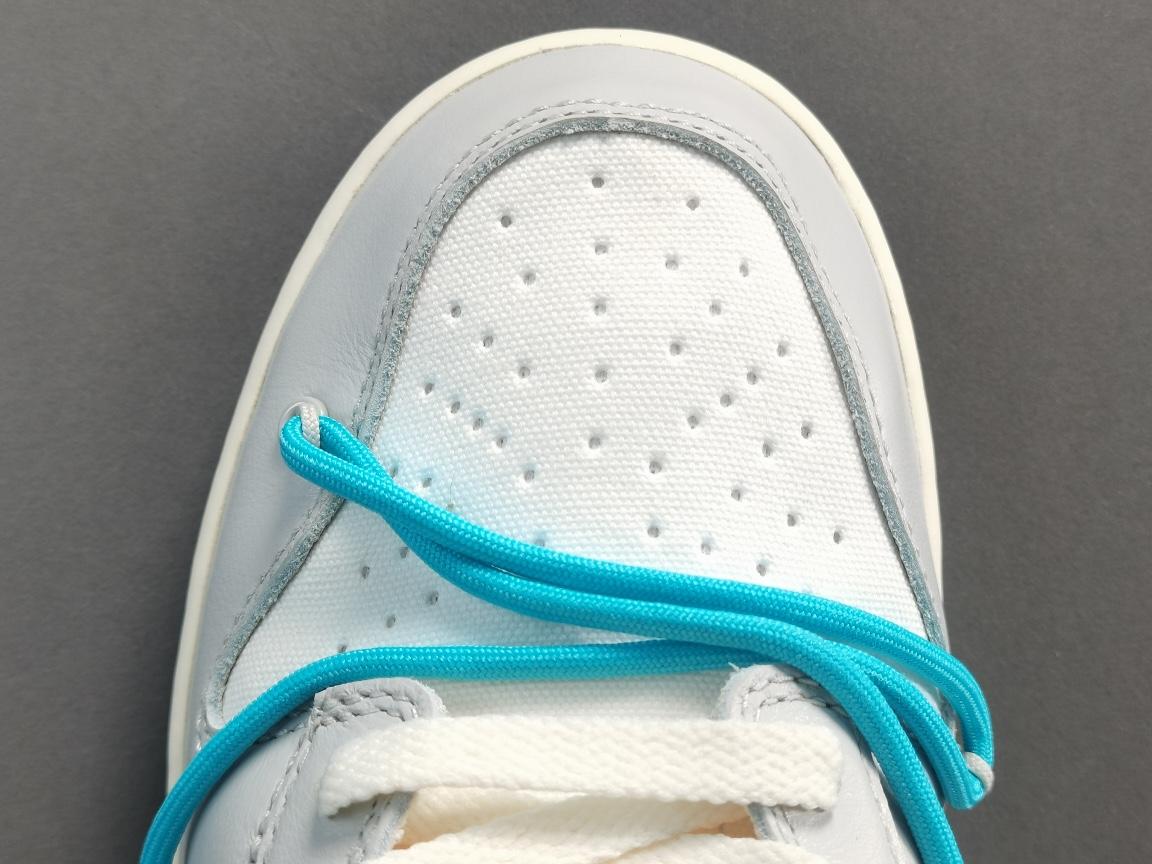 """纯原版_DUNK OW_灰白 蓝色鞋带黄扣  Off-White x Dunk Low""""The 50"""" 货号:DM1602-115_owf和og椰子"""