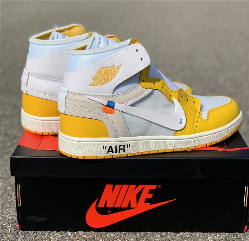 莞版AJ 白黄配色OFF-WHITE x Air Jordan 1 货号AQ0818-149_广东aj专卖店在哪里啊