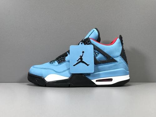GOD版_AJ4 蓝色 Air Jordan 4 Retro Travis Scott Cactus Jack ,乔四联名,货号_308497-406_莆田的god版什么意思