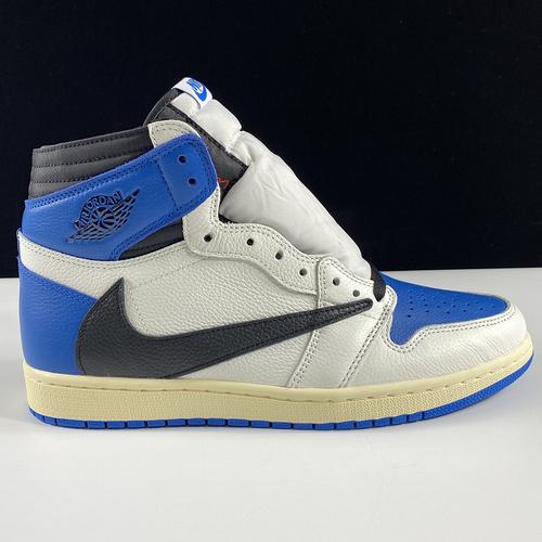 "LJR版AJ1 Fragment x Travis Scott x Air Jordan 1 "" Military Blue "" AJ1乔1 TS 藤原浩 三方联名倒钩 高帮男子文化篮球鞋 DH322_og莆田是什么意思"