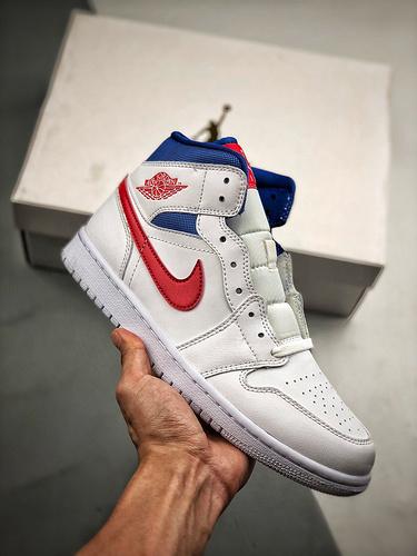Air Jordan 1 Mid 'USA' 爱国者红蓝_aj1黑红脚趾s2纯原