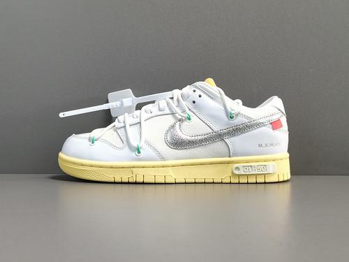 """GOD版_DUNK OW白银  白鞋带白扣 Off-White x Nike Dunk Low""""The 50"""" 货号:DM1602-127_莆田god版本和h12版本哪个好"""