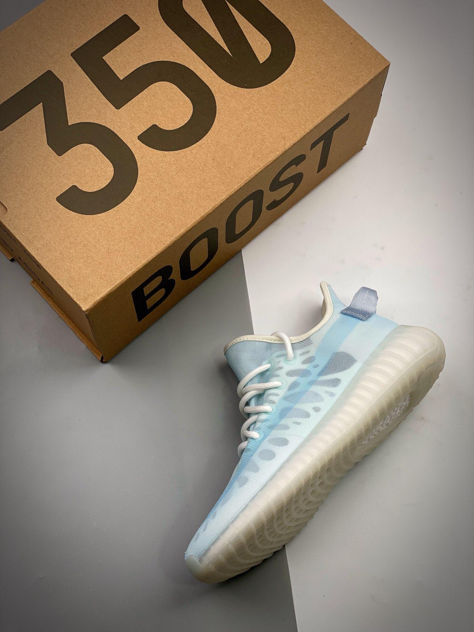 "Yeezy Boost 350V2 侃爷椰子 新配色 "" Mono Ice "" 轻质冰蓝 GW2869_什么叫河源裸鞋"