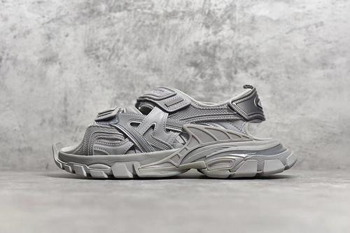 "PK版_巴黎世家凉鞋 灰色  Balenciaga巴黎世家 Track Sandal Sneakers""White/Silver""轨道2代凉鞋,货号_617542_东南亚pk印度工"