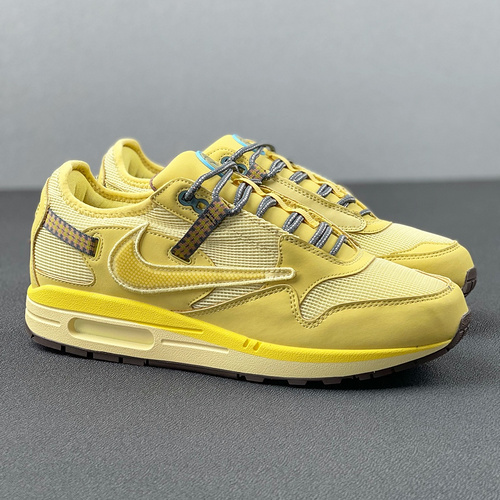 "Travis Scott x Nike Air Max 1 ""wheat""  小麦 倒钩_河源裸鞋和莆田哪个好"