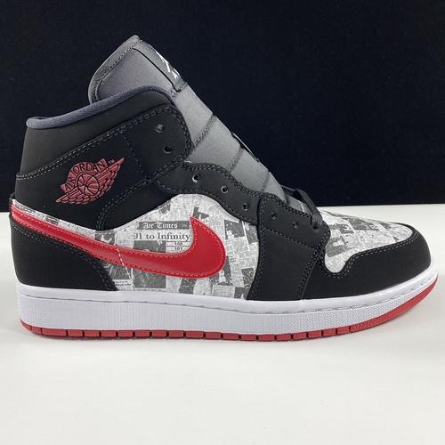 "Air Jordan 1 Mid SE ""Headlines"" 黑红画报配色 852542-061_ljr版本和正版"