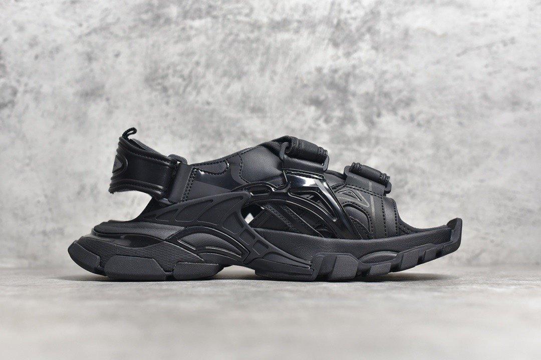 "PK版_巴黎世家凉鞋 黑色  Balenciaga巴黎世家 Track Sandal Sneakers""Black/Silver""轨道2代凉鞋,货号_617542_pk工厂莆田"