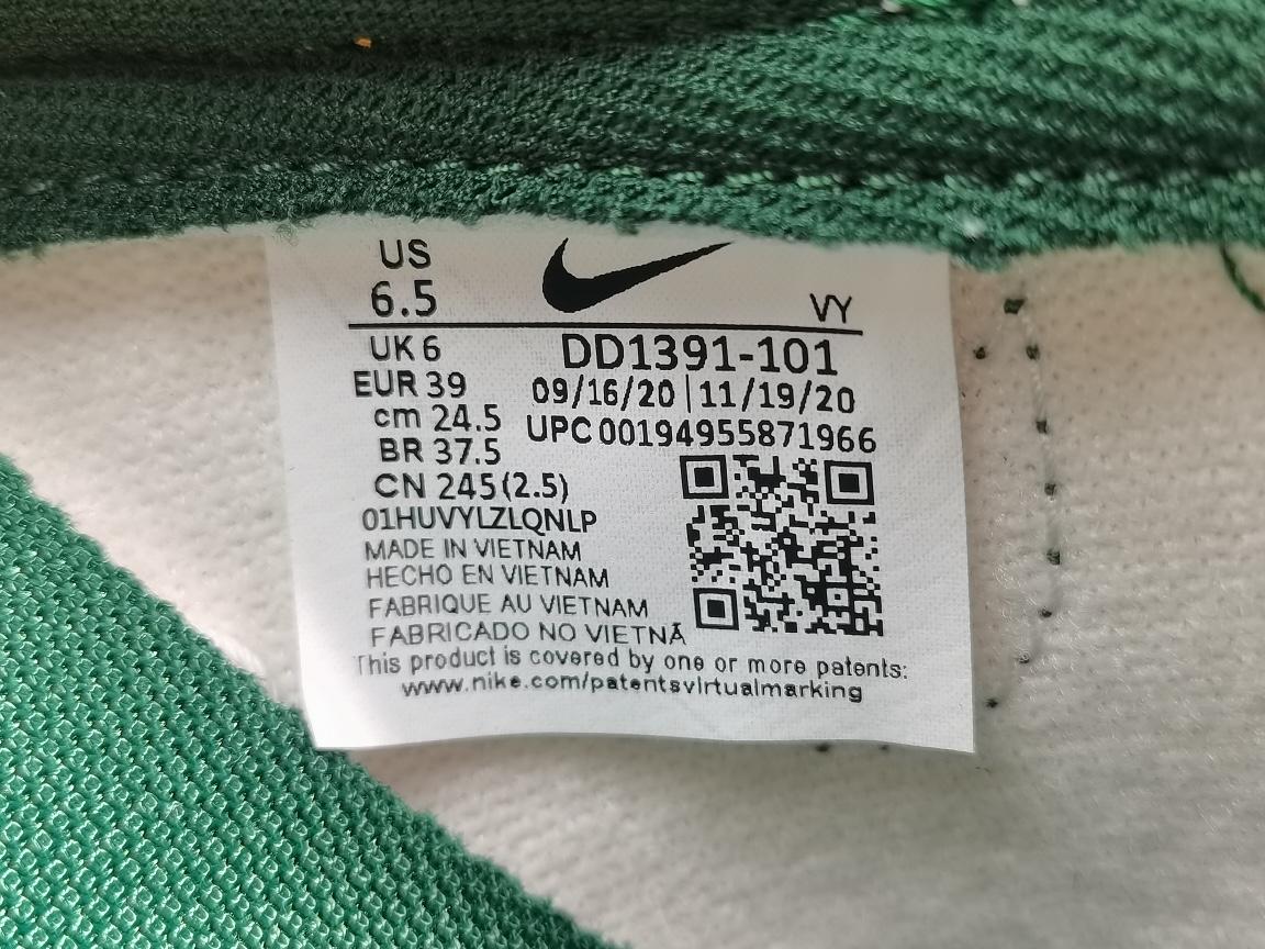 """专柜版_DUNK白绿 DUNK LOW Retro """"Varsity  Green"""" 货号:DH1391-101_椰子350v2g5和og"""