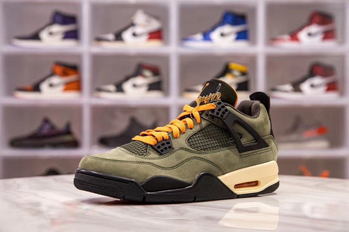 H12版_AJ4 军绿色 Air jordan 4 X Undefeated Travis Scott 上脚_h12纯原椰子500对比