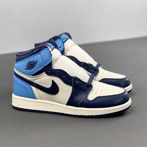 """Air Jordan 1 GS""""Obsidian""""女神款 北卡蓝 黑曜石配色 575441-140_什么叫河源裸鞋"""
