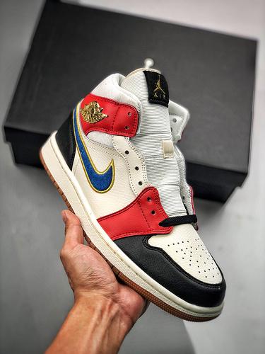 "Air Jordan 1 Mid""Familia"" S2原装拼色黑红灯芯绒脚趾 DC1426-100_欧文s2是什么鞋子"