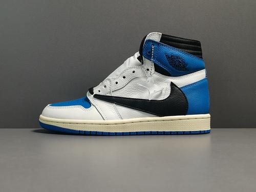 "X版:AJ1 黑蓝白联名 莞产 Air Jordan 1 OG SP Military Blue x Fragment x Travis ""货号:DH3227-105_莆田鞋x版纯原什么意思"