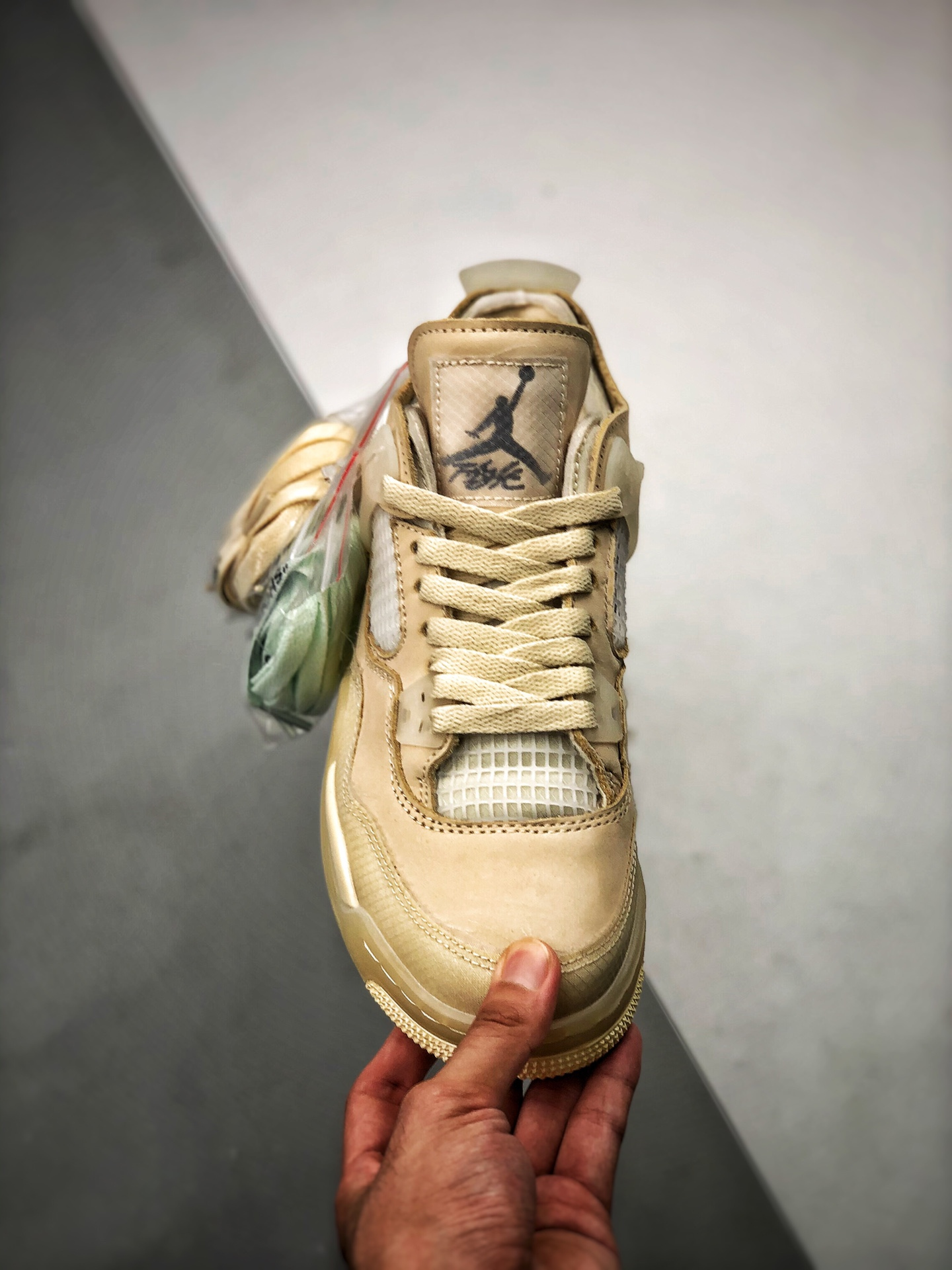 "S2纯原AJ4 Off-White™ x Air Jordan 4   ""Cream/Sail"" OW联名沙浅棕米OW联名蝉翼 米白色 货号:CV9388-100_莆田y3版是什么"