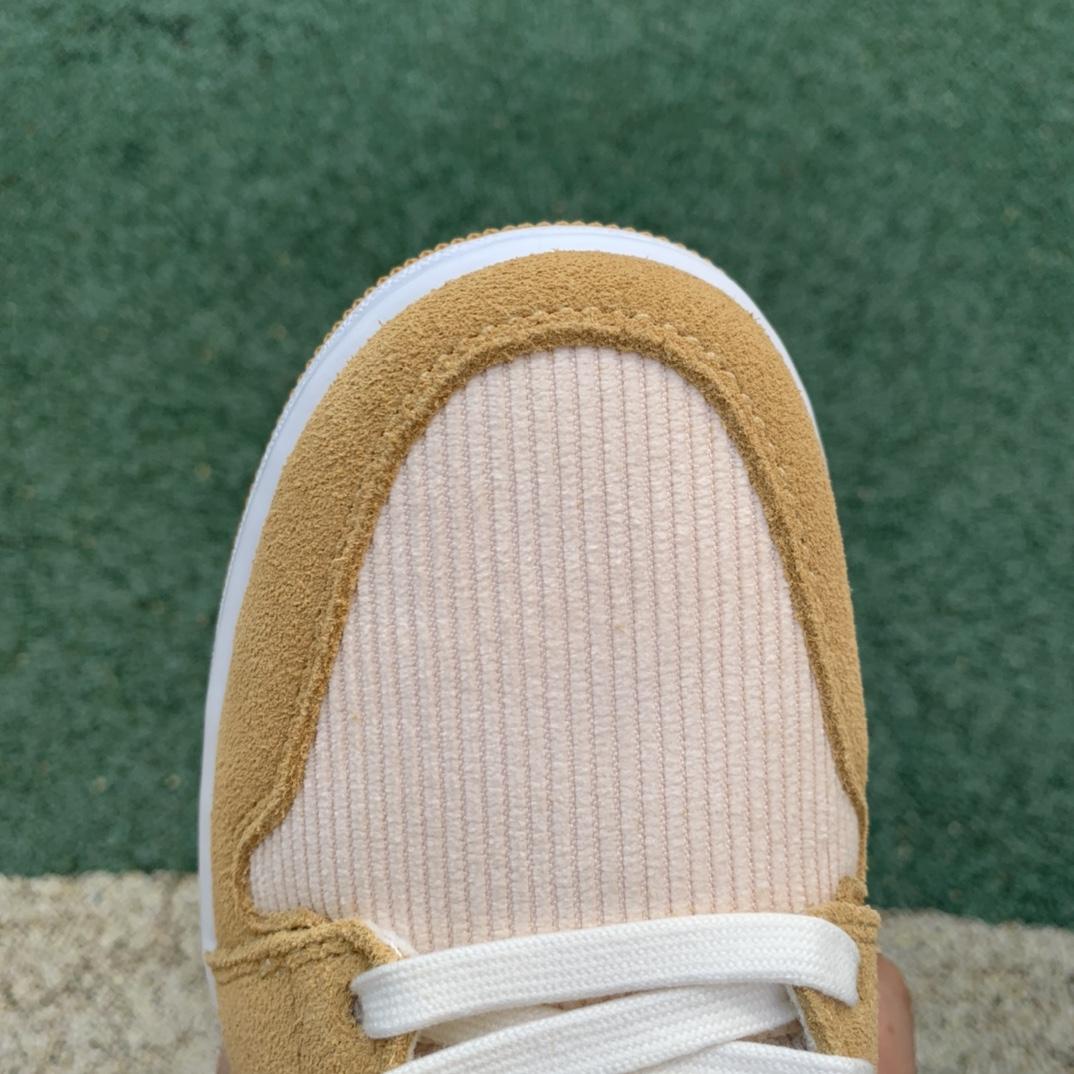 纯原版_Air Jordan 1 AJ1 low 米白黄 灯芯绒 低帮篮球鞋DH7820-700_劳拉Laura英文名寓意