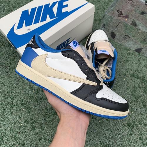 LJR出品-Air Jordan 1 AJ1 倒钩白蓝藤原浩闪电TS低帮篮球鞋 DM7866-140_做aj做的最好的是哪个