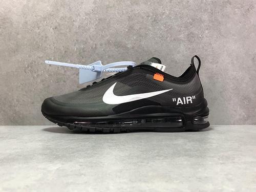 """H12纯原_97OW 黑白 Nike Air max 97 OFFWHITE """"Black""""_椰子500的翻毛皮h12"""
