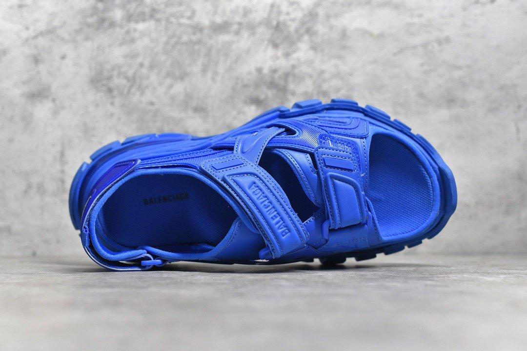 "PK版_巴黎世家凉鞋 蓝色  Balenciaga巴黎世家 Track Sandal Sneakers""White/Silver""轨道2代凉鞋,货号_617542_pk工厂微信"