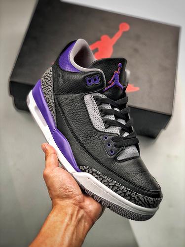 "S2原装AJ3 Air Jordan 3 ""Court Purple""黑紫葡萄 爆裂纹 葡萄紫 CT8532-050_莆田y3太极"