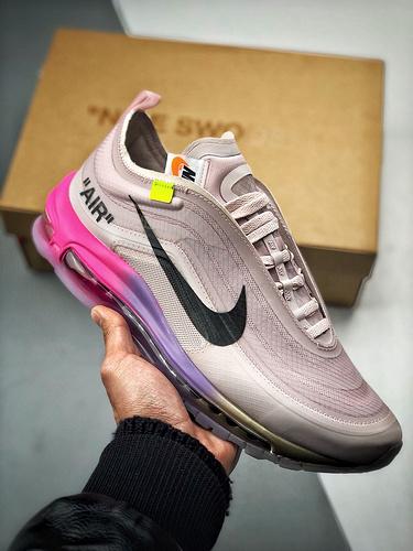 S2纯原Off-White™ x Nike Air Max 97 节超级丰富 美系潮流奢牌再度联乘 耐克复古子弹气垫慢跑鞋 OW白彩虹粉渐变紫黄配色 AJ4585-600_s2纯原好不好