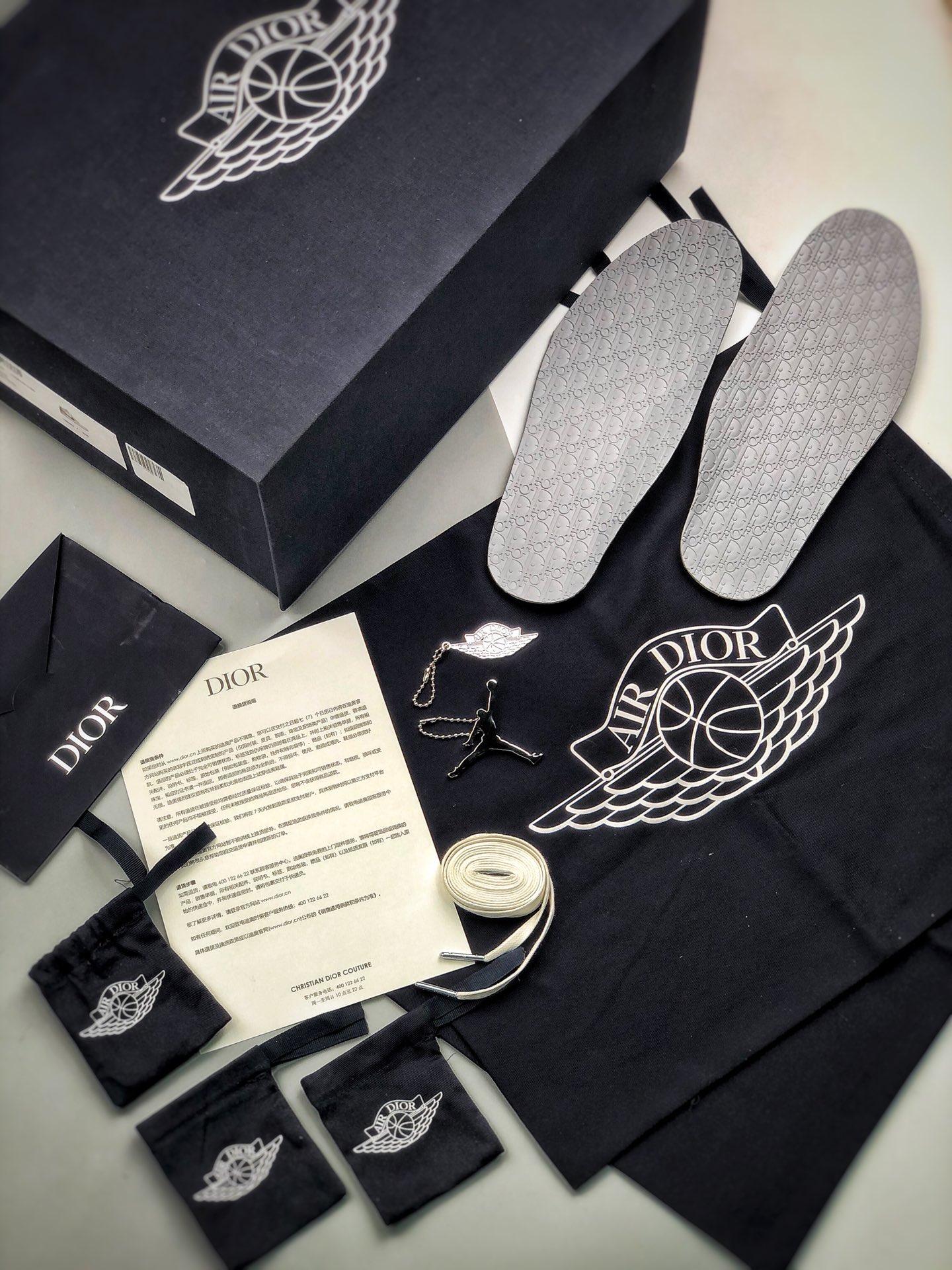 Dior X Air Jordan 1 high OG 白灰_s2纯原AJ12