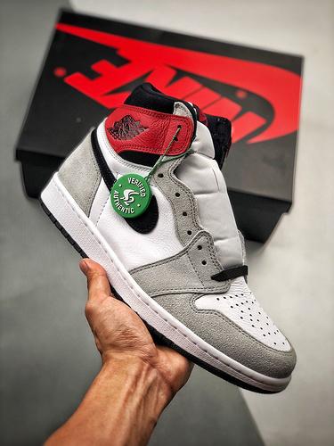 "S2纯原高帮 Air Jordan 1 ""Light Smoke Grey"" 货号:555088-126   乔1高帮烟灰_倒勾S2纯原"