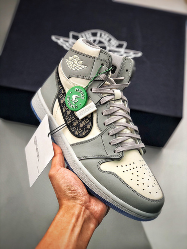 Dior x Air Jordan Brand 1 High OG 2020ss高奢品牌迪奥 S2纯原生产线白灰冰蓝迪奥配色 CN8607-002_H12鞋