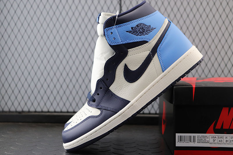 Air Jordan 1 AJ1黑蓝脚趾 乔1黑曜石 北卡蓝 555088-140_椰子st版和og