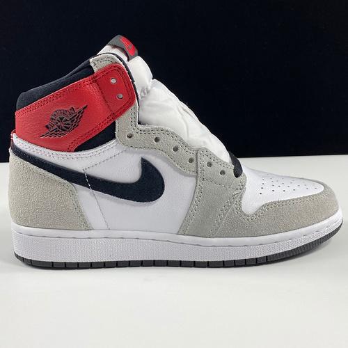"Air Jordan 1 High GS ""Light Smoke Grey"" 东莞LJR烟灰黑红配色 575441-126_东莞LJR"