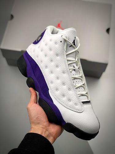 """Air Jordan 13 """"Lakers""""  货号:414571-105  乔13紫金白_什么是s2纯原生产线"""
