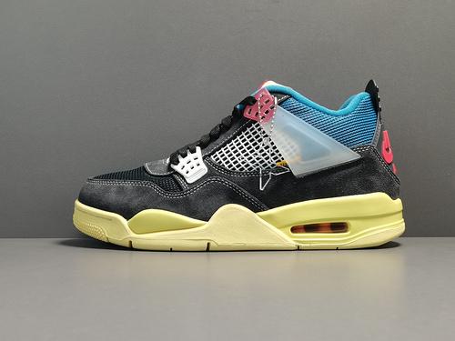 """X版:AJ4黑蓝 Off-White x Air Jordan 4 """"OffNoir""""货号:DC9533-001_莆田x版鞋子"""