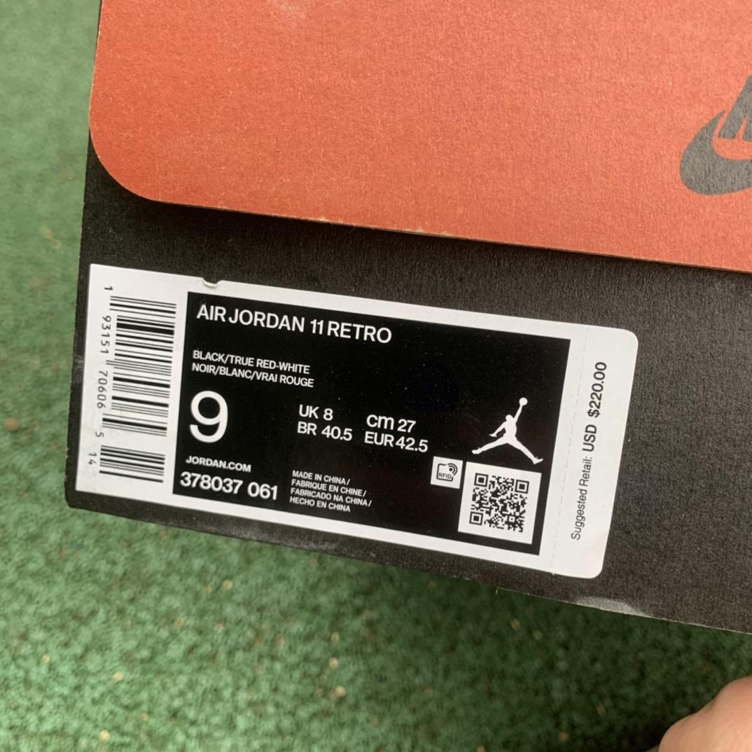 特供版-LJR出品-材料-Air Jordan 11 Bred 黑红 季后赛 年 378037-061_莆田get和ljr版本乔1几张
