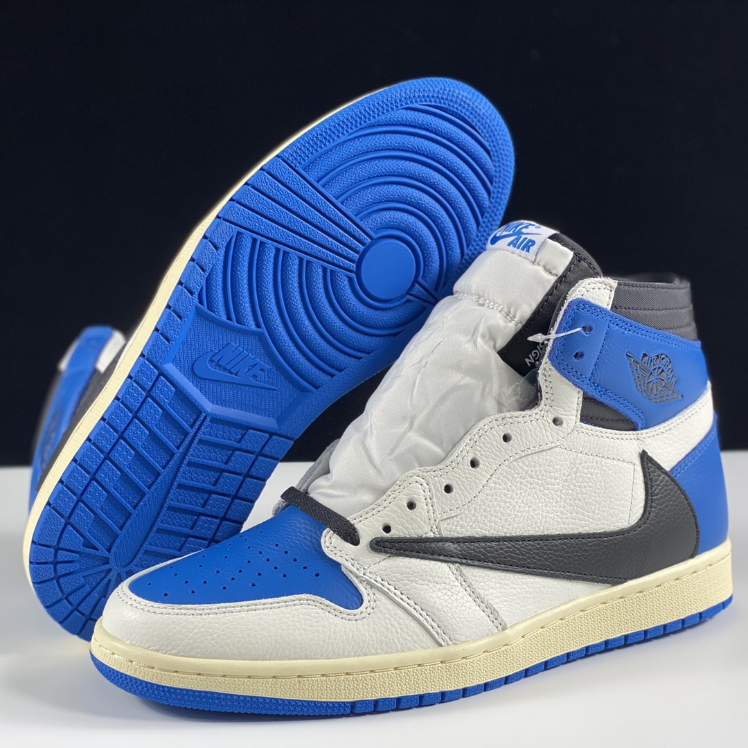 """LJR版AJ1 Fragment x Travis Scott x Air Jordan 1 """" Military Blue """" AJ1乔1 TS 藤原浩 三方联名倒钩 高帮男子文"""
