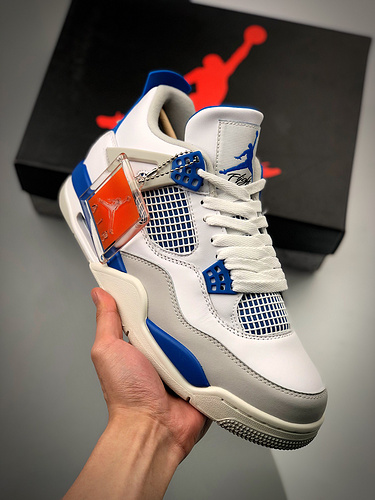 "S2纯原AJ4 Air Jordan 4 Retro ""Military Blue"" 白兰货号:308497-105_河源裸鞋终端"