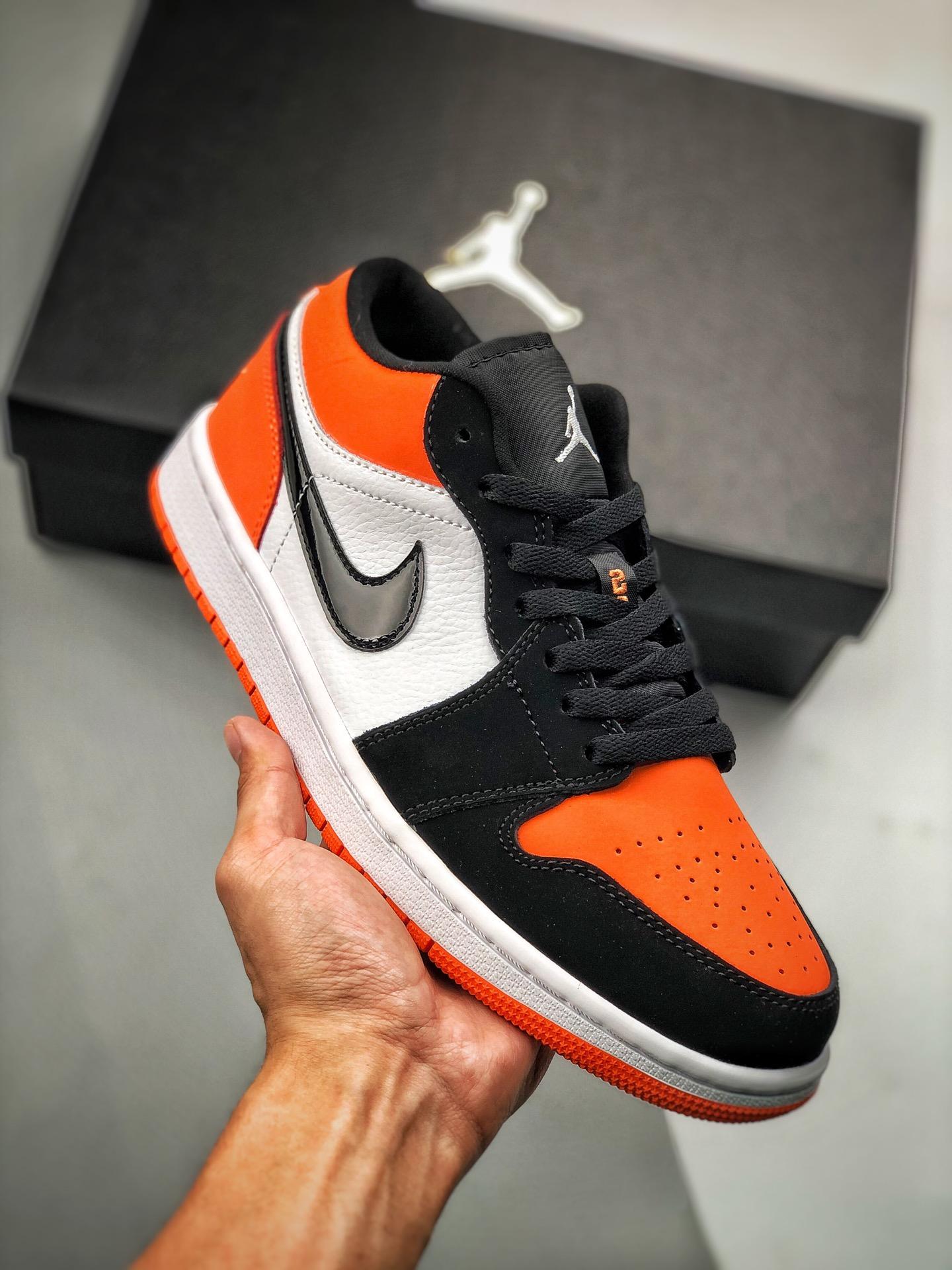 S2低帮low系列 Air Jordan 1 Low 黑橙扣碎 货号:553558-128 扣碎 黑白橙色_s2纯原微
