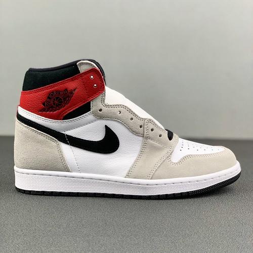 "Air Jordan 1 High GS ""Light Smoke Grey"" 烟灰黑红配色 575441-126_河源裸鞋和ljr哪个好"