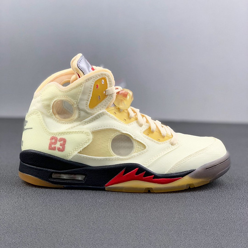 "Off-White x Air Jordan 5 ""Sail"" 美系潮流奢牌再度联乘 乔丹AJ5代篮球鞋 OW流川枫配色 DH8565-100_河源aj裸鞋"