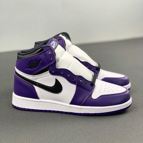 "Air Jordan 1 GS ""Court Purple"" 女神款紫加哥 白紫葡萄脚趾配色 575441-500_河源裸鞋和ljr哪个好"