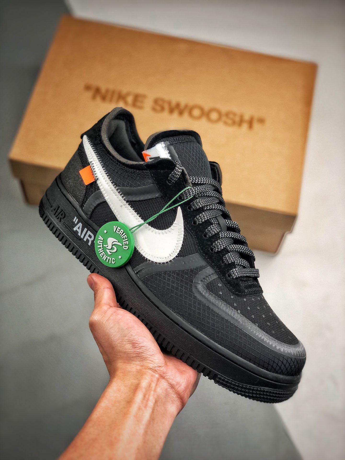 "S2原装AF1 Off-White x Nike Air Force 1 ""Black""韩国进口原装网纱鞋面不褶皱 正确高频及Swoosh材质 OW黑白配色 AO4606-001_y3 哪些 巴斯夫"