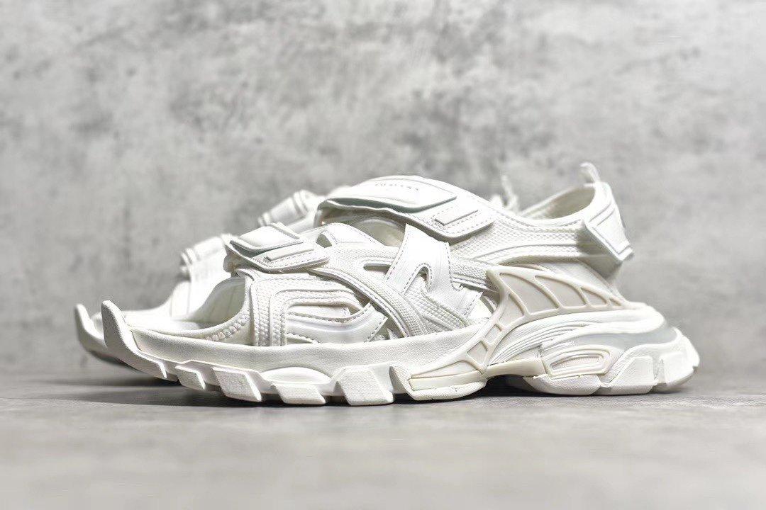 "PK版_巴黎世家凉鞋 白色  Balenciaga巴黎世家 Track Sandal Sneakers""White/Silver""轨道2代凉鞋,货号_617542_Pk工厂终端"