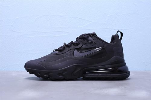 """AO4971-003 公司级 Nike Air Max 270 React 混合科技 半掌气垫跑步鞋 二维码鞋标 鞋盒外标内置RFID芯片""""全黑""""男鞋39-45"""