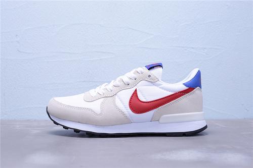 """828407-105 公司级 全新版本 Nike Internationalist 华夫经典复古猪八革织布低帮休闲运动鞋""""白红蓝""""男女鞋36-44"""
