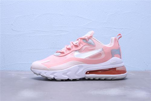 """CQ5420-611 公司级 Nike Air Max 270 React 混合科技 半掌气垫跑步鞋 二维码鞋标 鞋盒外标内置RFID芯片""""粉灰白橘白银勾""""女鞋36-39"""