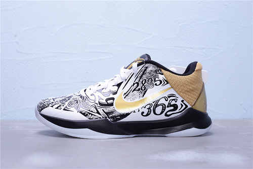 CT8044-100 纯原版本 Nike Zoom Kobe 5 Protro 科比5代 海外发售版 黑金纪念款 鸳鸯男子实战篮球鞋 同样内置前掌ZOOM TURBO气垫 Ortholite全掌过胶