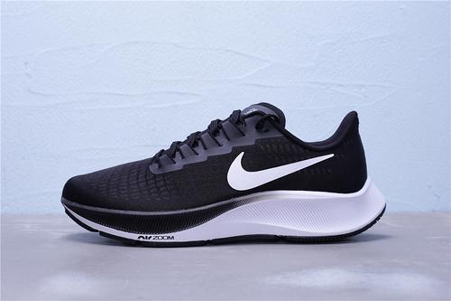 """BQ9646-002 公司级 Nike Zoom Pegasus 37 登月37代 内置真气垫 超轻网面透气跑步鞋""""黑白""""男女鞋36-45"""