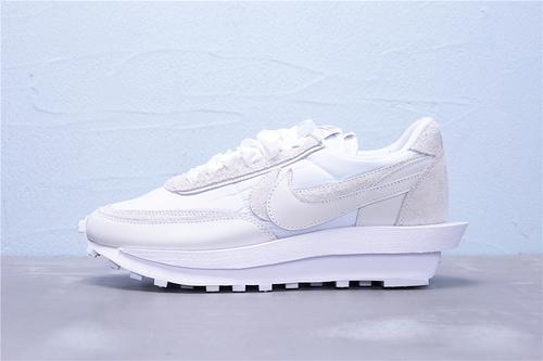 BV0073-101 纯原版本 Sacai x Nike LVD Waffle Daybreak 联名走秀款 丝绸面米灰白 双钩双标双鞋带厚底 长绒皮材质 双钩双鞋舌(正确一层外露 一层包边)