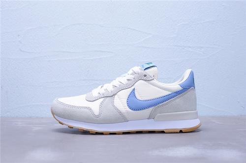 """828407-044 公司级 全新版本 Nike Internationalist 华夫经典复古猪八革织布低帮休闲运动鞋""""灰白蓝""""女鞋36-39"""