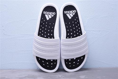 """EG1909 公司级 Adidas 阿迪达斯 Adilette Boost 爆米花夏季休闲运动沙滩一字拖鞋""""白黑""""男女鞋36-45"""