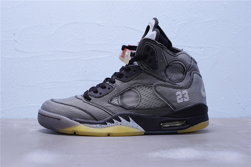 CT8480-001 纯原版本 OFF-WHITE X Air Jordan 5 乔丹5代篮球鞋 联名灰黄