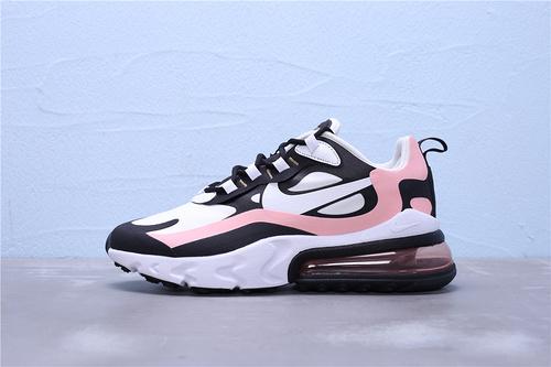 """AT6174-006 公司级 Nike Max 270 React 混合科技 半掌气垫跑步鞋 二维码鞋标 鞋盒外标内置RFID芯片版本""""白黑肉橘粉""""男女鞋36-45"""